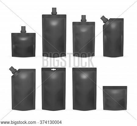 Black Doypack Mockup Set, Vector Isolated Illustration