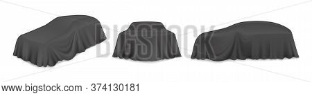 Black Car Reveal Curtain, Vector Isolated Illustration