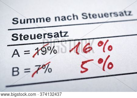 Mehrwertsteuer Or Mwst - Value-added Tax In German - Rate Reduction From 19 To 16 And 7 To 5 Percent