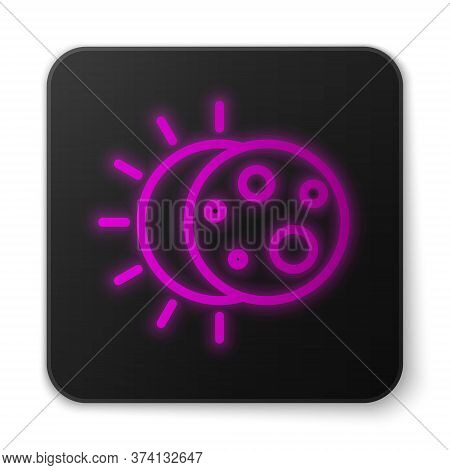 Glowing Neon Line Eclipse Of The Sun Icon Isolated On White Background. Total Sonar Eclipse. Black S