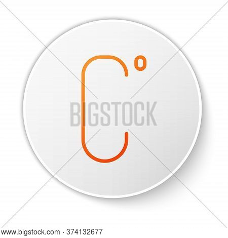 Orange Line Celsius Icon Isolated On White Background. White Circle Button. Vector Illustration