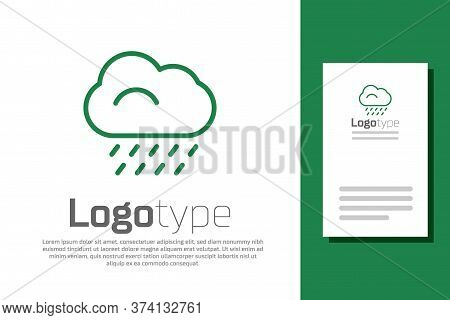 Green Line Cloud With Rain Icon Isolated On White Background. Rain Cloud Precipitation With Rain Dro
