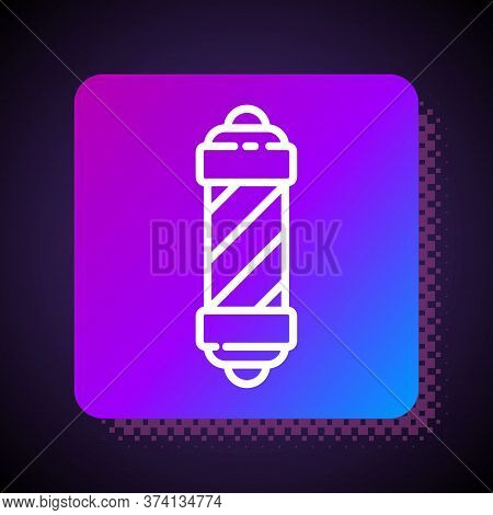 White Line Classic Barber Shop Pole Icon Isolated On Black Background. Barbershop Pole Symbol. Squar