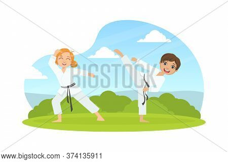 Children Asian Martial Art Fighters, Cute Boy And Girl Athletes Practicing Karate Technique, Kids We