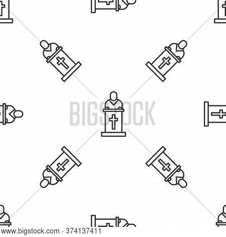 Grey Line Church Pastor Preaching Icon Isolated Seamless Pattern On White Background. Vector Illustr