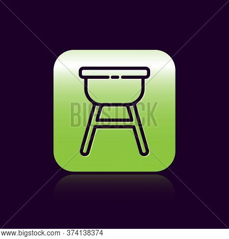 Black Line Barbecue Grill Icon Isolated On Black Background. Bbq Grill Party. Green Square Button. V