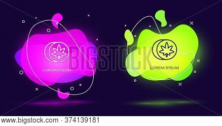 Line Herbal Ecstasy Tablets Icon Isolated On Black Background. Abstract Banner With Liquid Shapes. V