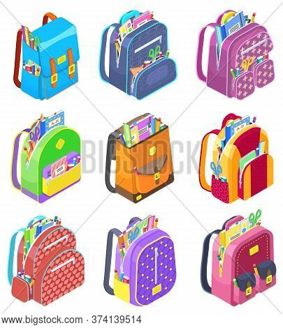 Set Of Schoolbags For Children. Isolated Satchel With School Supplies. Textbooks And Notebooks, Rule