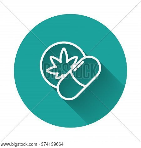 White Line Herbal Ecstasy Tablets Icon Isolated With Long Shadow. Green Circle Button. Vector Illust