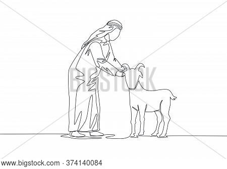 One Continuous Line Drawing Of Young Happy Muslim Holding A Goat. Muslim Holiday The Sacrifice A She