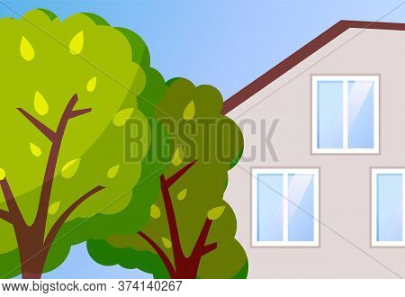 Cottage House Vector Illustration. Modern Family Villa House With Green Trees In The Home Garden. Pr