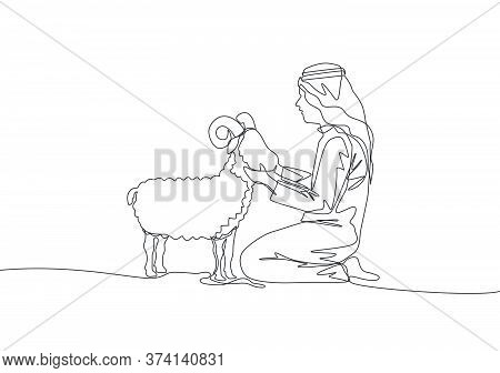 One Single Line Drawing Of Young Muslim Holding A Sheep. Islamic Holiday The Sacrifice A Goat Or She
