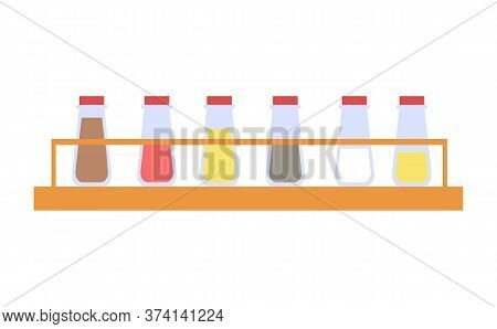 In Kitchen Vector, Wooden Shelf With Bottles Filled With Powders. Turmeric And Paprika, Salt And Pep