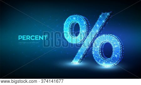 Percent Sign. 3d Low Polygonal Abstract Percent Symbol. Business Concept Of Banking, Calculation, Di