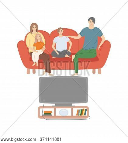 People Watching Movies Vector, Family Consisting Of Father, Mother And Children Boy And Girl Resting