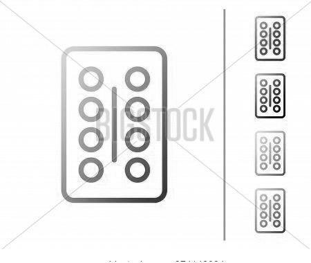 Red Line Pills In Blister Pack Icon Isolated On White Background. Medical Drug Package For Tablet, V