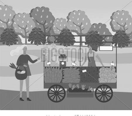 Farmer Is Selling Fresh Vegetables, Autumn Harvest Festival Time. Smiling Woman Wearing In Farmer Ov