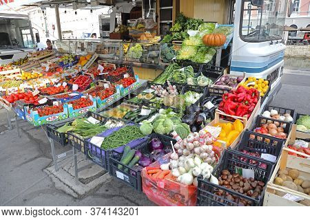 Trieste, Italy - October 14, 2014: Fresh Vegetables Produce At Temporary Street Market Stall In Trie