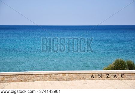 Canakkale, Turkey - June 24, 2011: Anzac Sign On The Wall By The Sea.