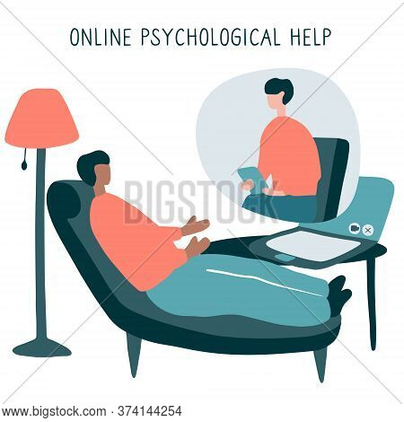Man At The Psychologist Online Session. Doctor Consultation By Phone. Video Call To Psychiatrist. On