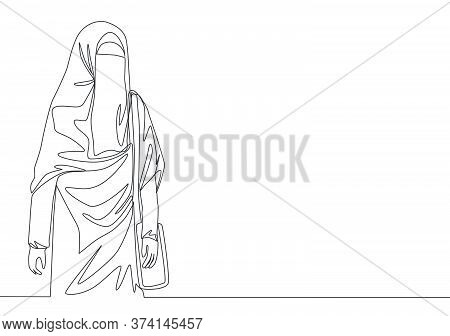 One Single Line Drawing Of Young Attractive Asian Muslimah Wearing Burqa While Carrying Pocket Bag.