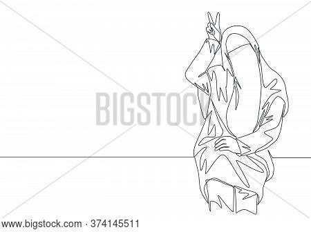 One Single Line Drawing Of Young Cute Asian Muslimah Wearing Burqa While Giving Peace Hand Gesture.
