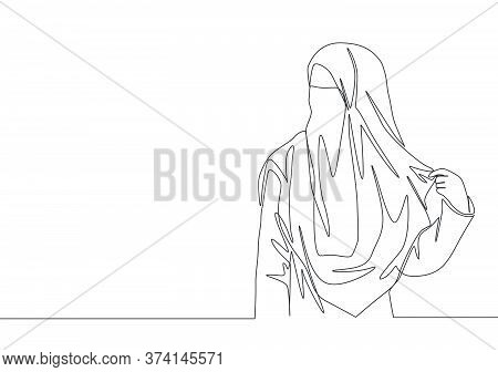 One Single Line Drawing Of Young Attractive Asian Muslimah Wearing Burqa While Holding Her Veil. Tra