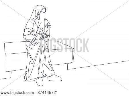 Single Continuous Line Drawing Of Young Attractive Middle East Muslimah Wearing Burqa Siting On Chai