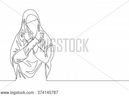 Single Continuous Line Drawing Of Young Beauty Cute Middle East Muslimah Wearing Burqa With Veil. Tr