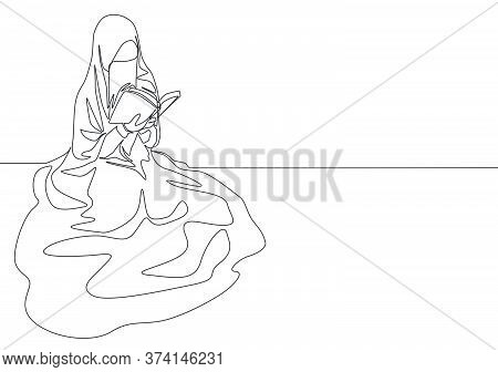 One Continuous Line Drawing Of Young Pretty Saudi Arabian Muslimah Wearing Burqa Reading A Book On T