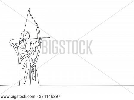 One Single Line Drawing Of Young Beauty Saudi Arabian Muslimah Wearing Burqa And Aiming Archery Arro