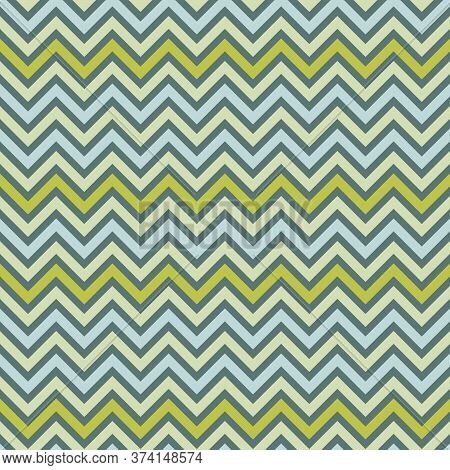 Blue And Green Seamless Zigzag Pattern, Vector Illustration. Chevron Zigzag Pattern With Colorful Li
