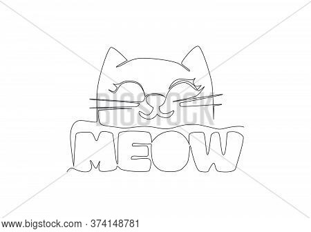 One Continuous Line Drawing Of Cute And Adorable Typography Animal Quote - Meow For Kitty Kitten Cat