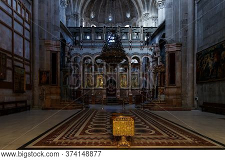 Jerusalem, Israel, June 13, 2020 : The Hall In Which The Navel Of The Earth Is Located In The Church