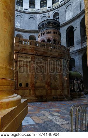 Jerusalem, Israel, June 13, 2020 : The Kuvuklia In The Holy Sepulchre In Christian Quarter In The Ol