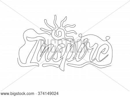 One Single Line Drawing Of Cute And Inspiring Typography Quote - Inspire. Calligraphic Design For Pr