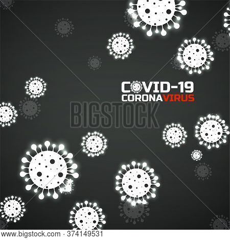 Coronavirus Background With Glowing Bacteria. Science And Medicine Concept. Abstract Vector Illustra