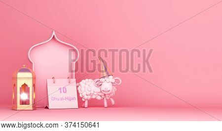 Eid Al Adha Decoration On Pink Background, Lantern Sheep, 10 Dhu Al Hijjah Calendar, Islamic Window,
