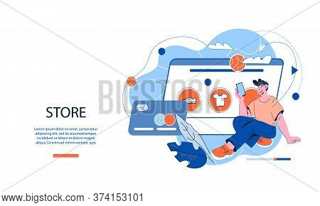 Online Store Services Website Template With Man Shopping Online Vector Illustration.