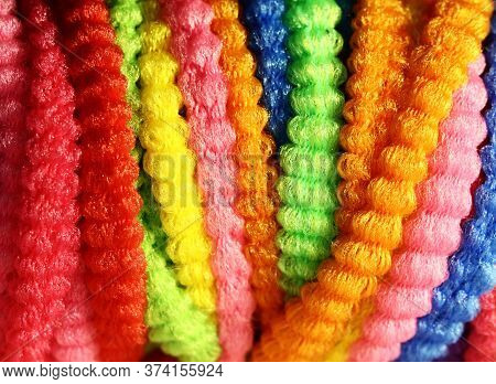 Multi-colored Rubber Bands For Hair. Wallpaper, Hair Accessories, Close-up Of Colored Rubber Bands F