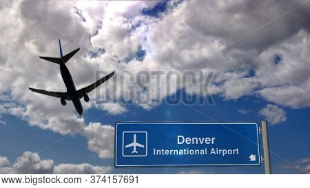 Airplane Silhouette Landing In Denver, Colorado. City Arrival With International Airport Direction S