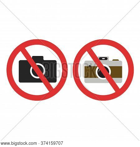 Photo Camera Forbidden. Banned Camera Crossed Simple Colored And Black Icon. Not Allowed To Take A P