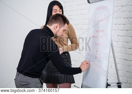 Male Announcer Manager Businessman Writes Business Promotion Plan On White Board. Standing In A Blac