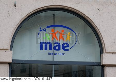 Bordeaux , Aquitaine / France - 06 20 2020 : Mae Logo Sign Of French Insurance For Teatcher In Wall