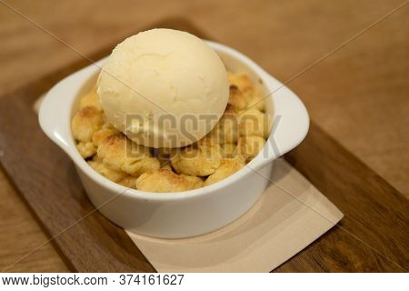 Sweet Dessert Snack Of Soft Baked Cookies Crumble Strawberry Apple  Pie With Vanilla Ice Cream Toppi