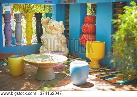 Ratchaburi, Thailand - June 20, 2020: The Famous Modern Art Ceramic Gallery Has Been Show At Tao Hon