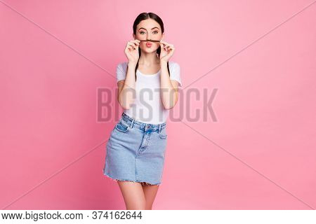 Portrait Of Her She Nice-looking Attractive Lovely Winsome Girlish Funny Cheery Girl Making Fake Mus