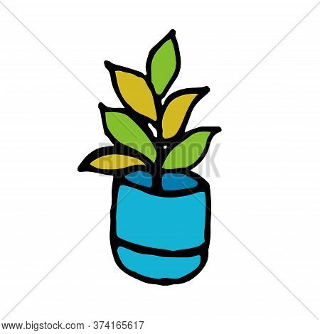 Houseplant In A Blue Pot. Drawn By Hand. Isolated. Vector Flat House Plant Pot Illustration. Colorfu