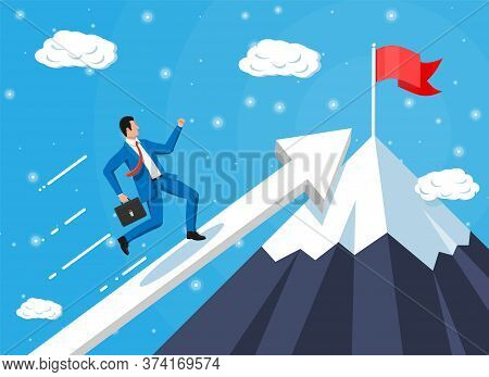 Businessman On Chart Ladder Is Fast Running With Waving Necktie And Briefcase. Goal Setting. Smart G