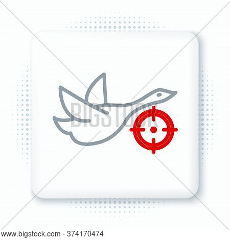 Line Hunt On Duck With Crosshairs Icon Isolated On White Background. Hunting Club Logo With Duck And
